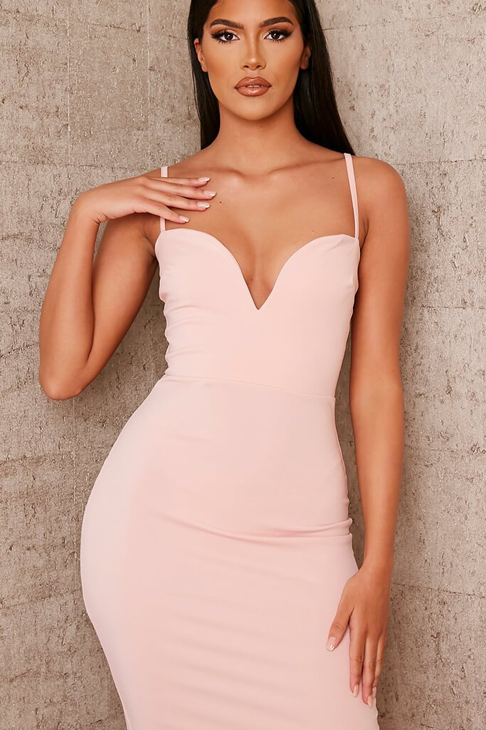 Nude Stretch Crepe Deep Plunge Cami Midaxi Dress view 5