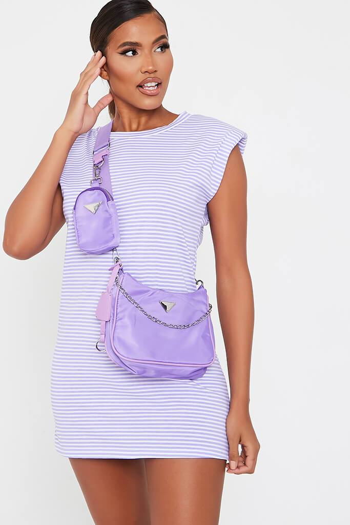 Lilac Striped Shoulder Padded Dress view main view
