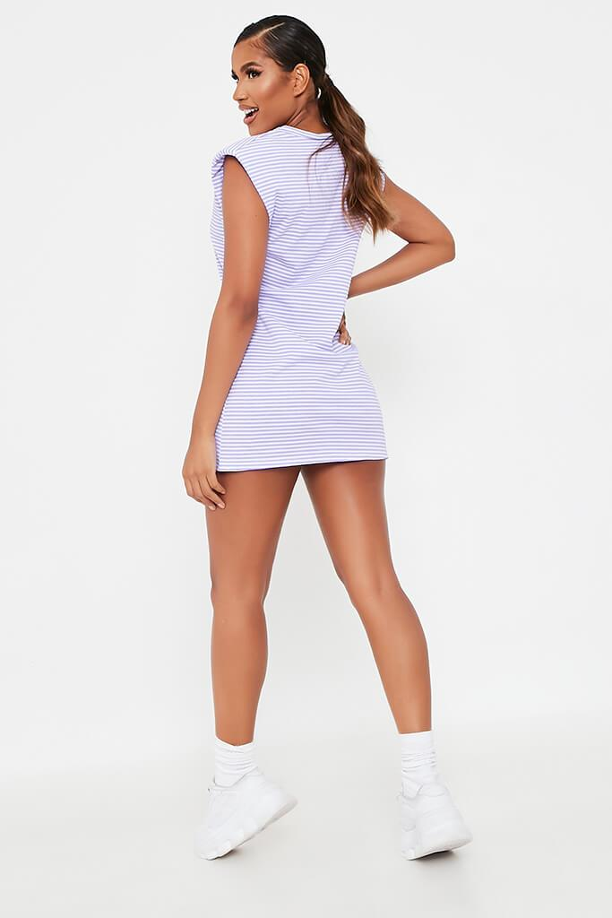 Lilac Striped Shoulder Padded Dress view 5