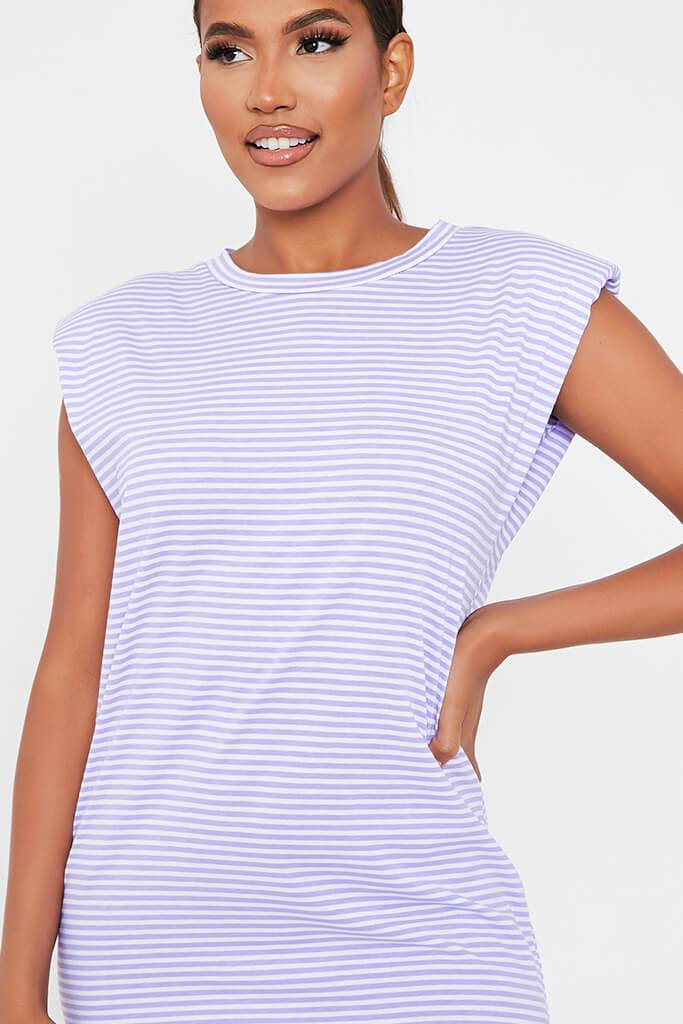 Lilac Striped Shoulder Padded Dress view 4