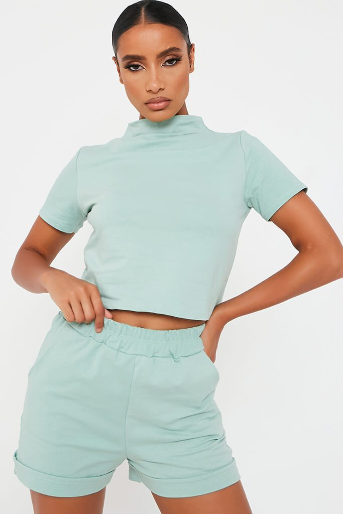 Mint Green High Neck Top And Short Lounge Set view main view