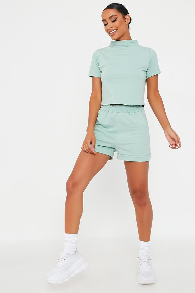 Mint Green High Neck Top And Short Lounge Set view 2
