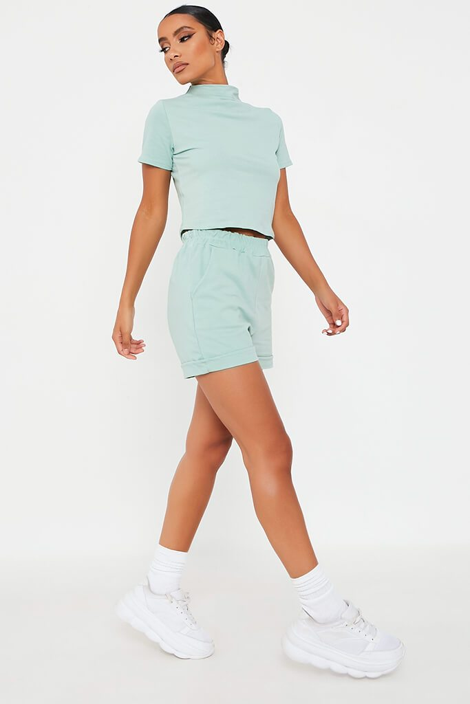 Mint Green High Neck Top And Short Lounge Set view 3