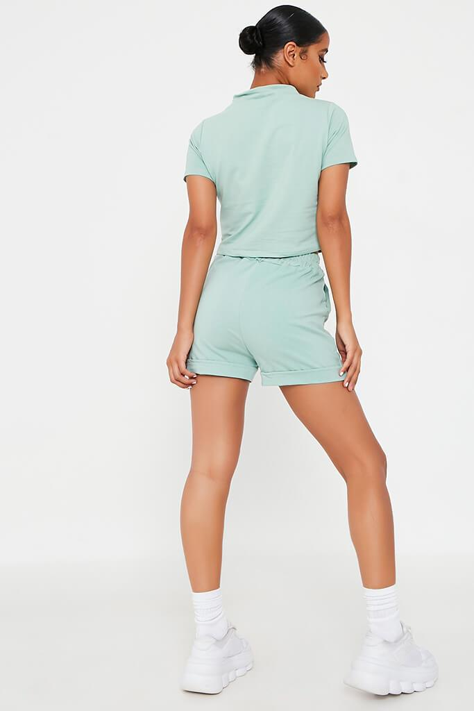 Mint Green High Neck Top And Short Lounge Set view 5
