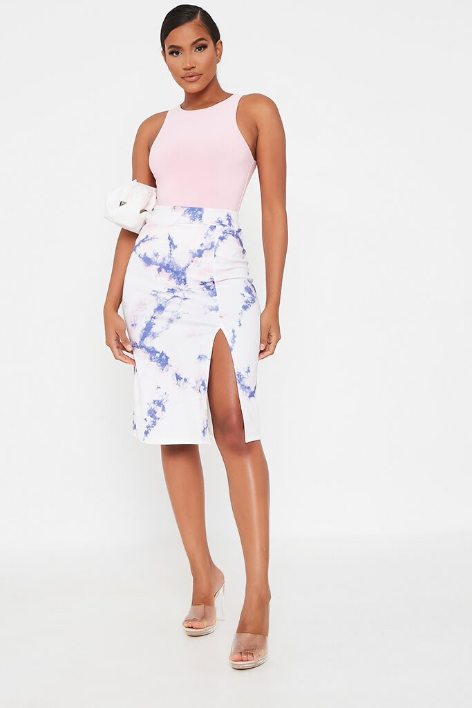 Blue Tie Dye Midi Skirt With Split