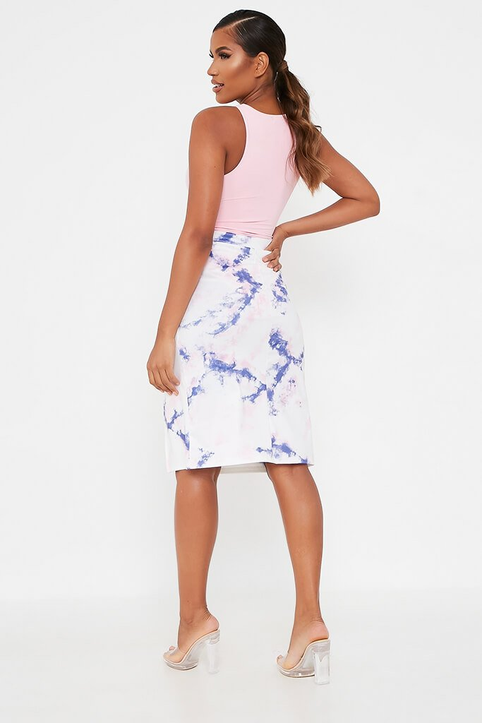 Blue Tie Dye Midi Skirt With Split view 5