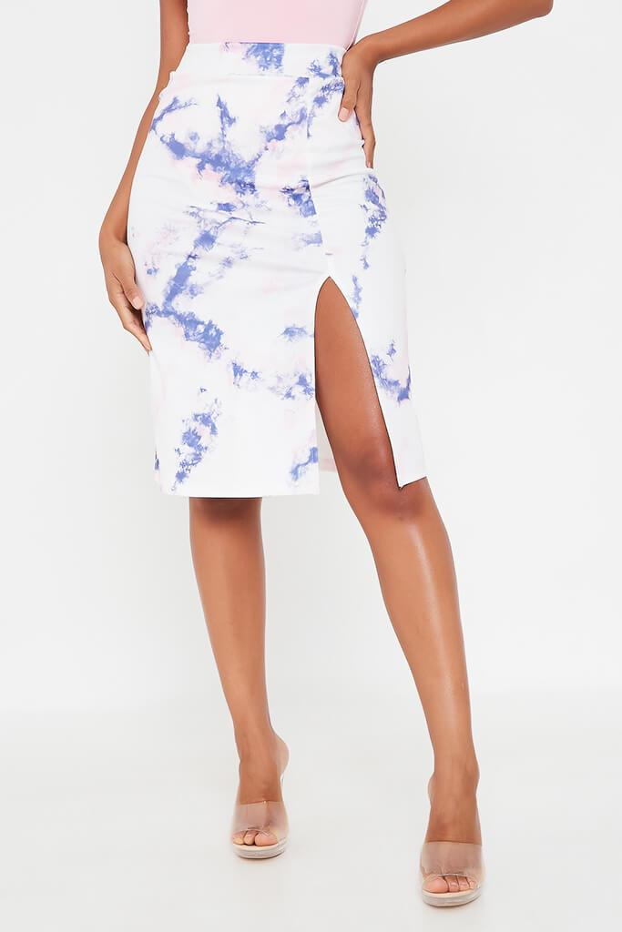 Blue Tie Dye Midi Skirt With Split view 2