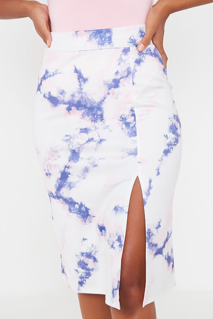 Blue Tie Dye Midi Skirt With Split view 4