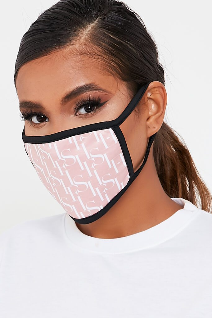 Peach I Saw It First Jacquard Face Mask view 2
