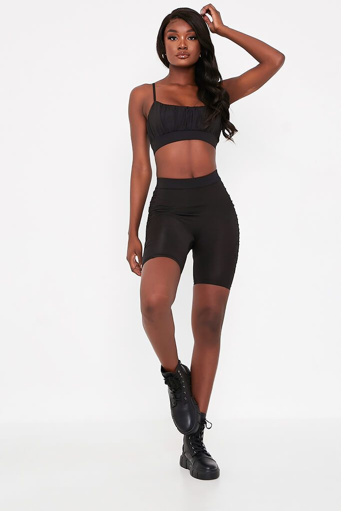 Black Ruched Side Cycling Shorts view 4