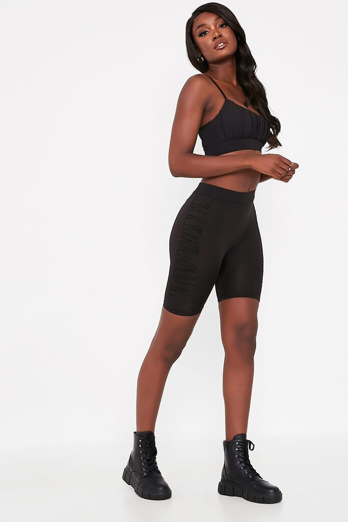 Black Ruched Side Cycling Shorts view 3