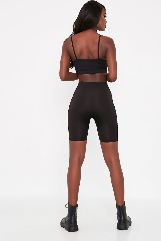 Black Ruched Side Cycling Shorts view 5
