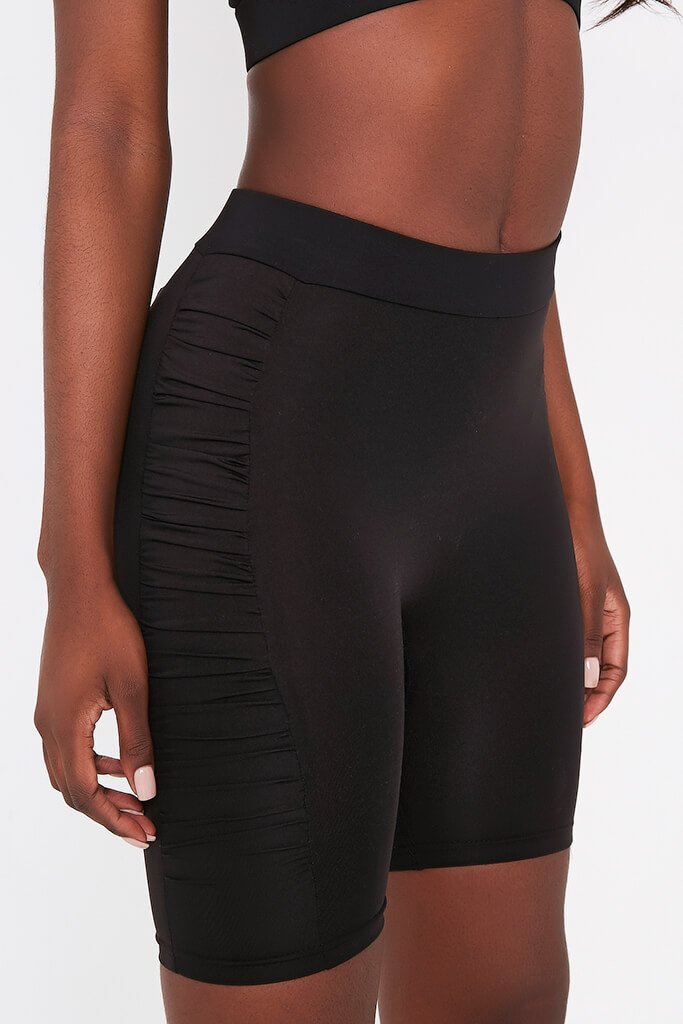 Black Ruched Side Cycling Shorts
