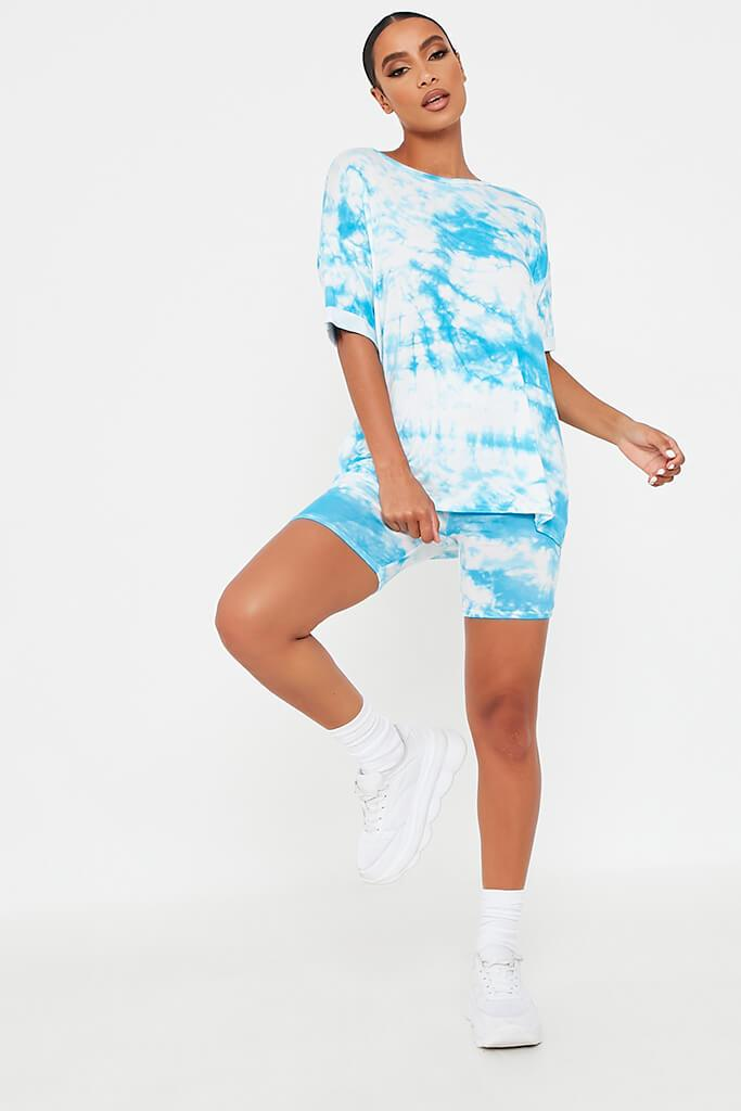 Blue Tie Dye Oversized T-Shirt And Cycling Short Loungewear Set view 2