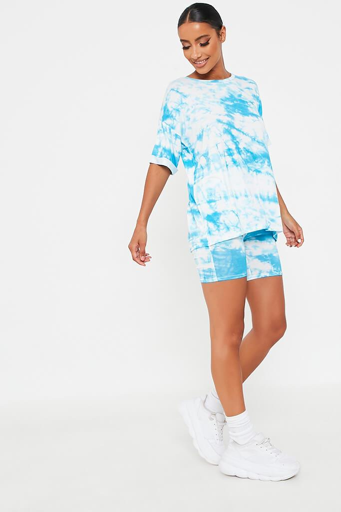 Blue Tie Dye Oversized T-Shirt And Cycling Short Loungewear Set view 3