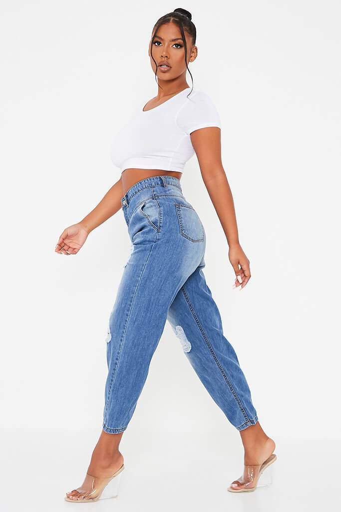 Mid Wash High Waisted Baggy Balloon Jeans view 3