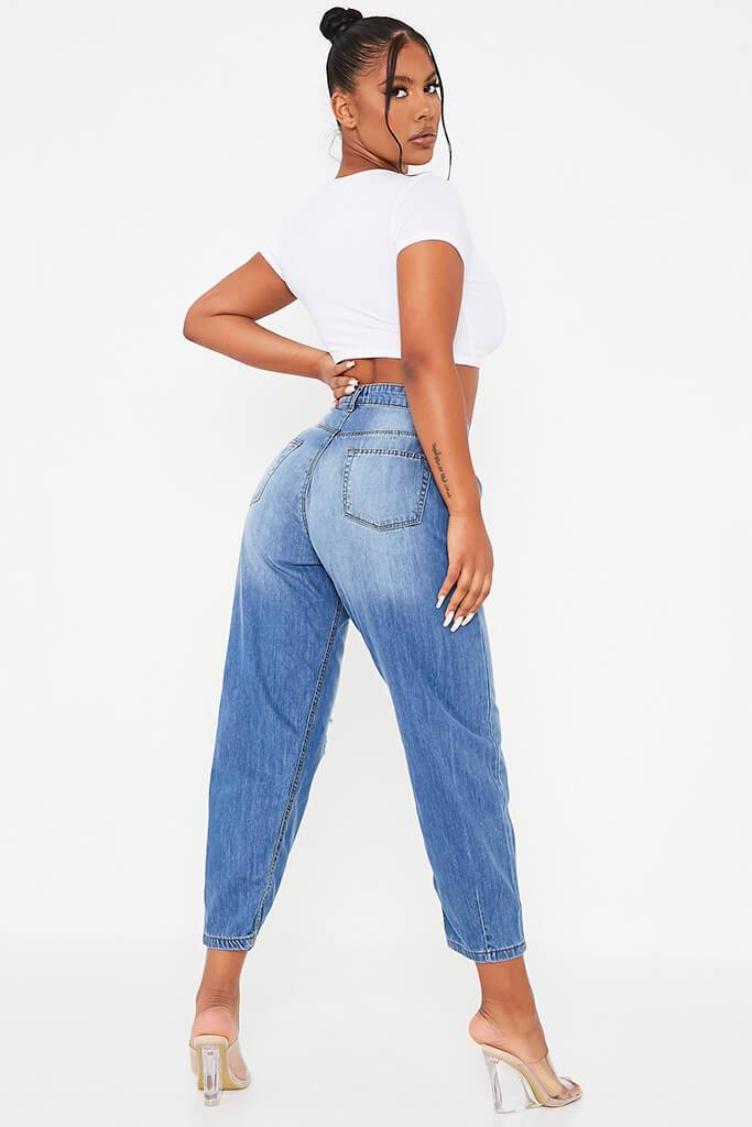 Mid Wash High Waisted Baggy Balloon Jeans view 4