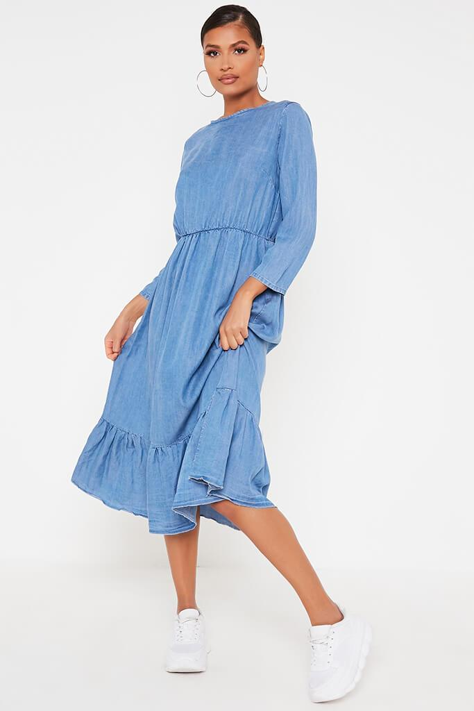 Mid Wash Chambray Smock Frill Midi Dress