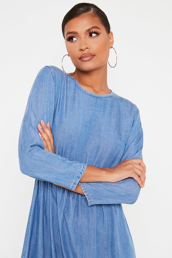 Mid Wash Chambray Smock Frill Midi Dress view 2