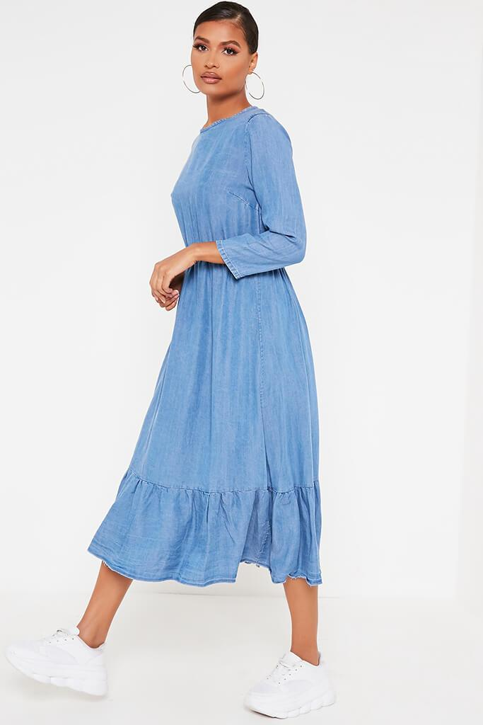 Mid Wash Chambray Smock Frill Midi Dress view 3