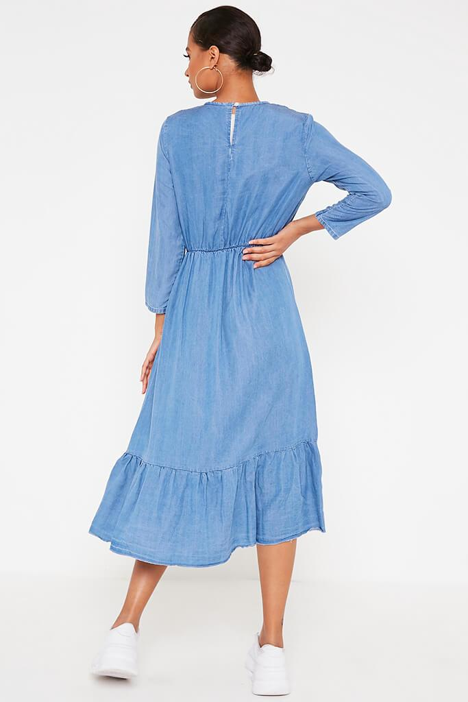 Mid Wash Chambray Smock Frill Midi Dress view 5