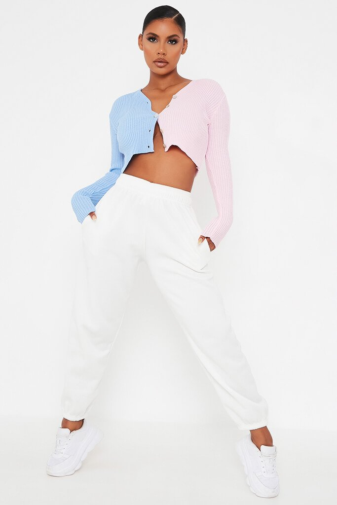 Baby Pink Colour Block Crop Knitted Cardigan view 2