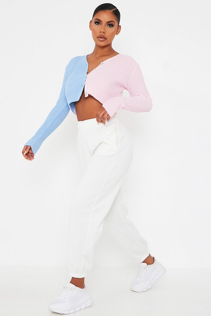 Baby Pink Colour Block Crop Knitted Cardigan view 3