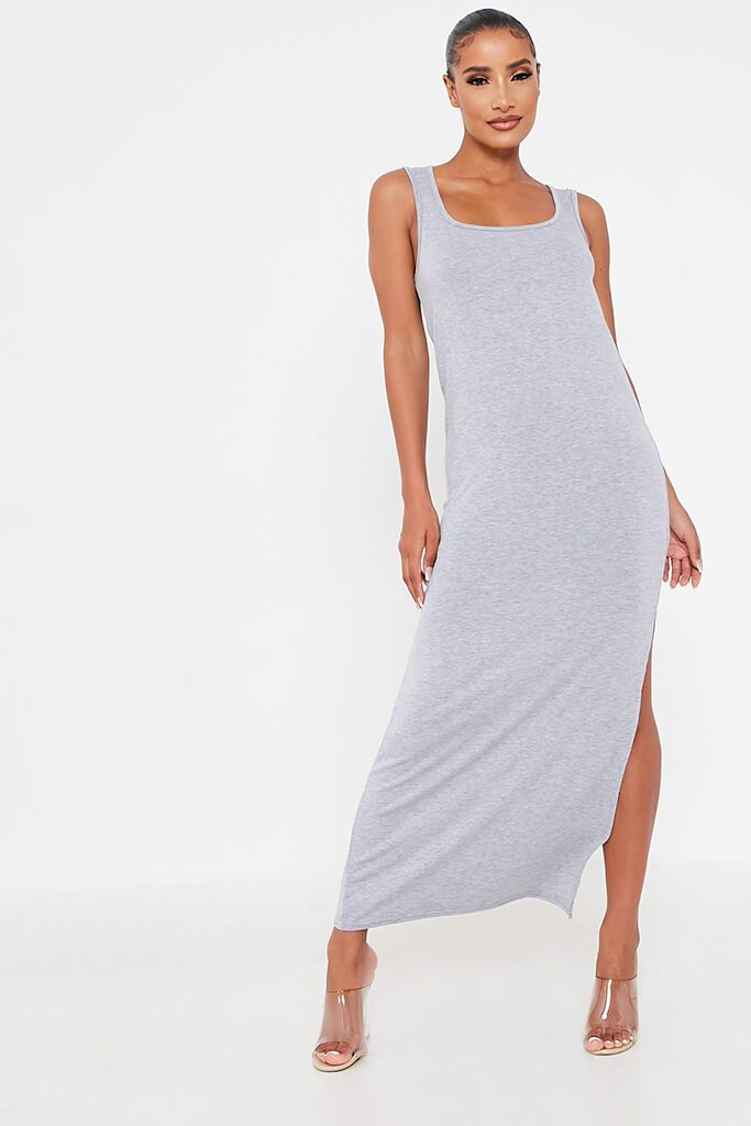 Grey Sleeveless Scoop Neck Lounge Dress