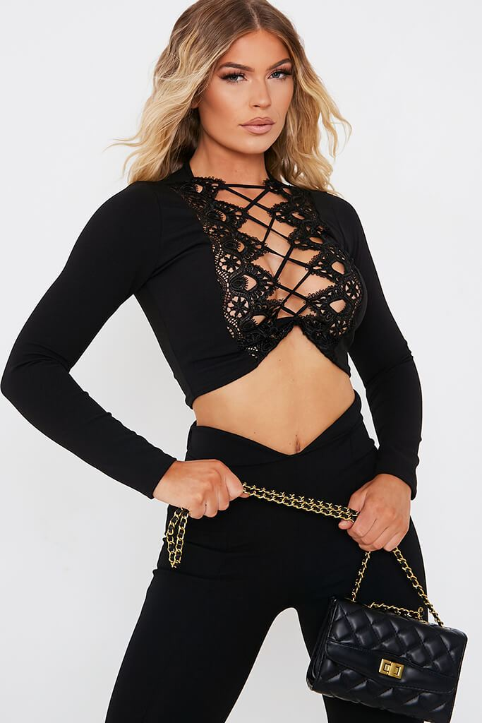 Black Scuba Lace Detail Long Sleeve Blouse