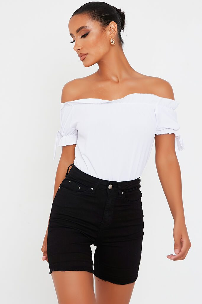 White Rib Bardot Frill Hem Short Sleeve Bodysuit view main view