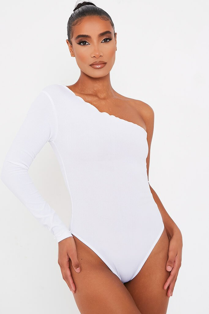 White Rib One Shoulder Lettuce Hem Bodysuit view 2