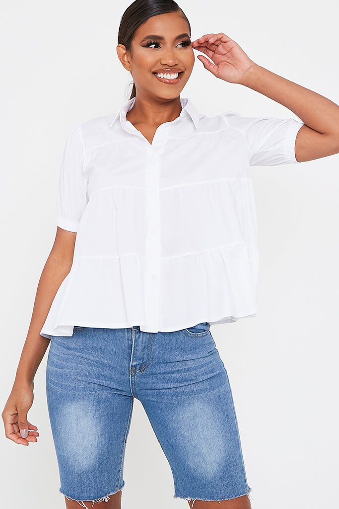 White Chambre Puff Sleeve Tiered Smock Blouse
