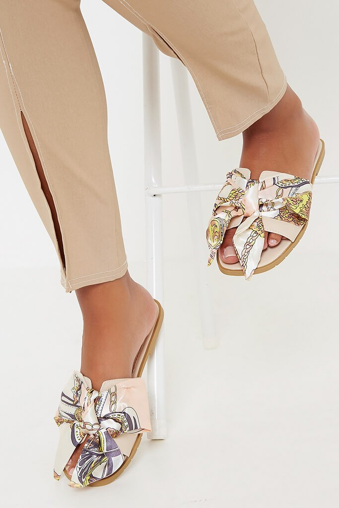 Nude Satin Scarf Sliders view 3