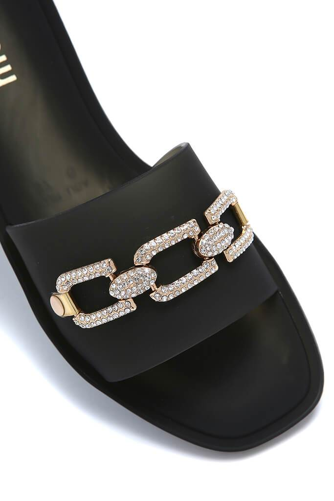 Black Diamante Chain Link Sliders view 2