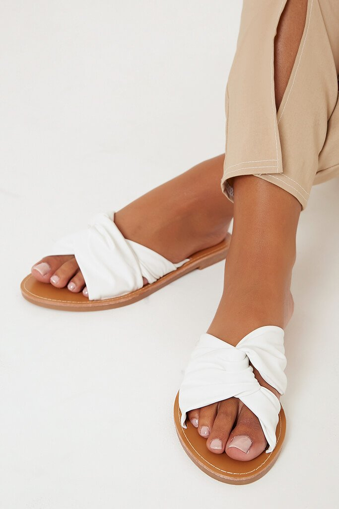 White Fabric Crossover Sandals