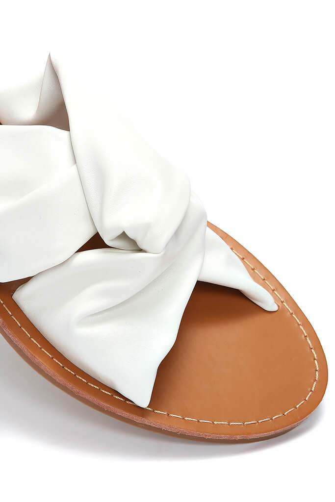 White Fabric Crossover Sandals view 5