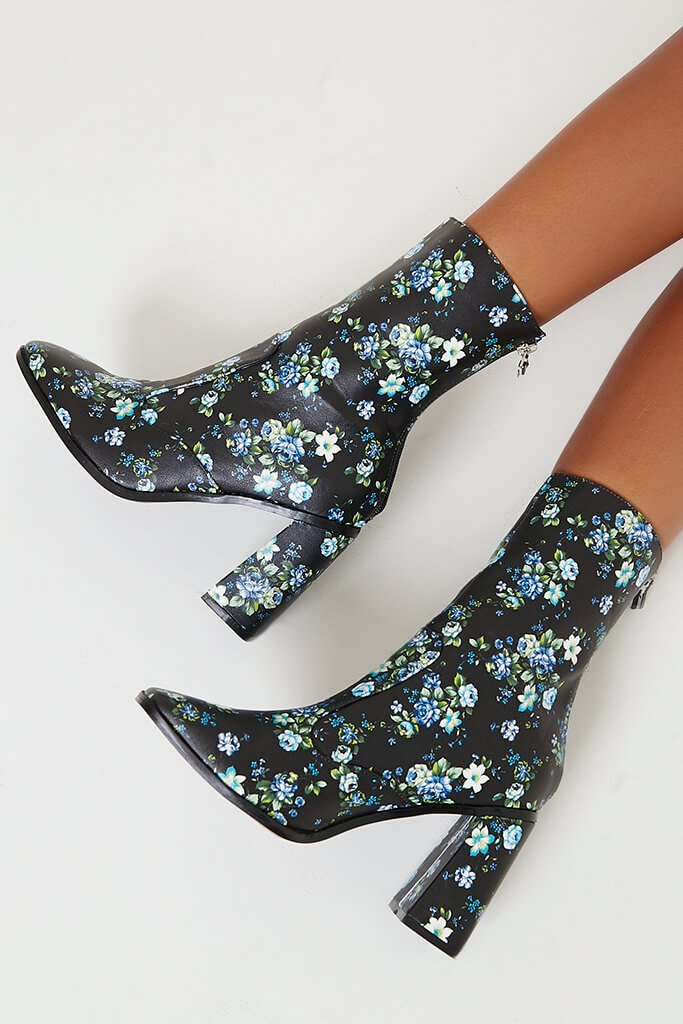 Black Floral Pu Heeled Boots