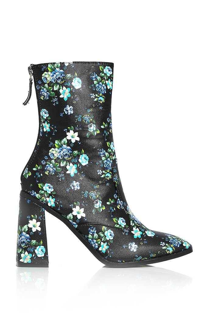 Black Floral Pu Heeled Boots view 4