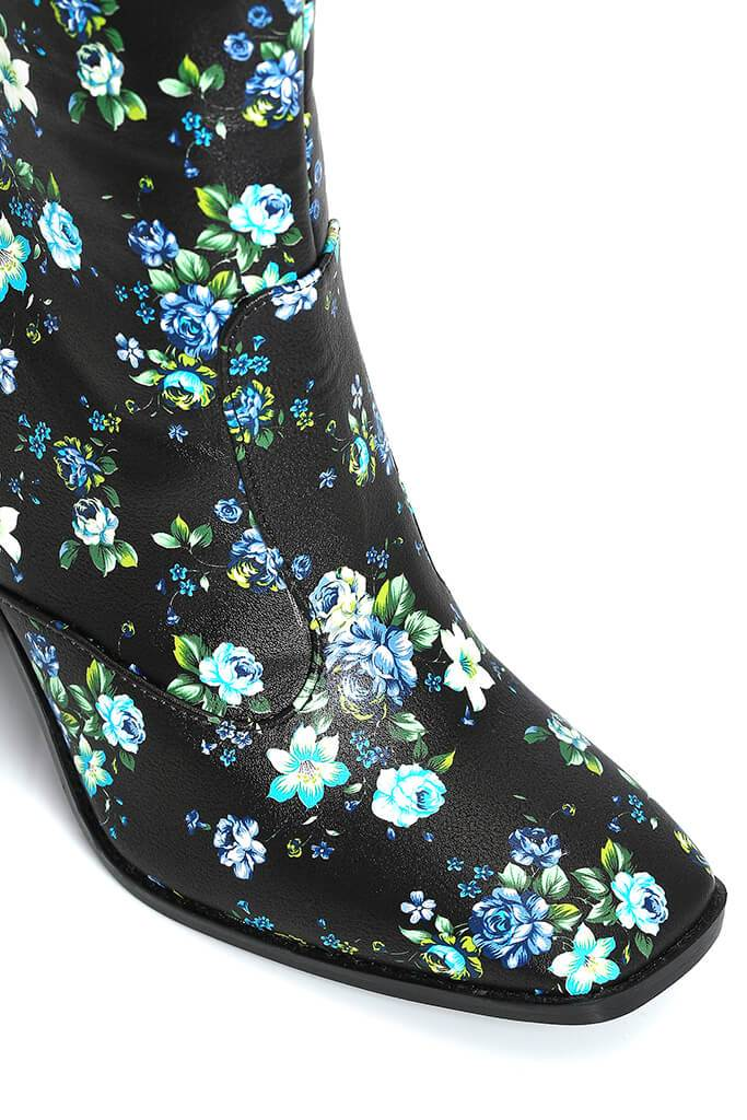 Black Floral Pu Heeled Boots view 5