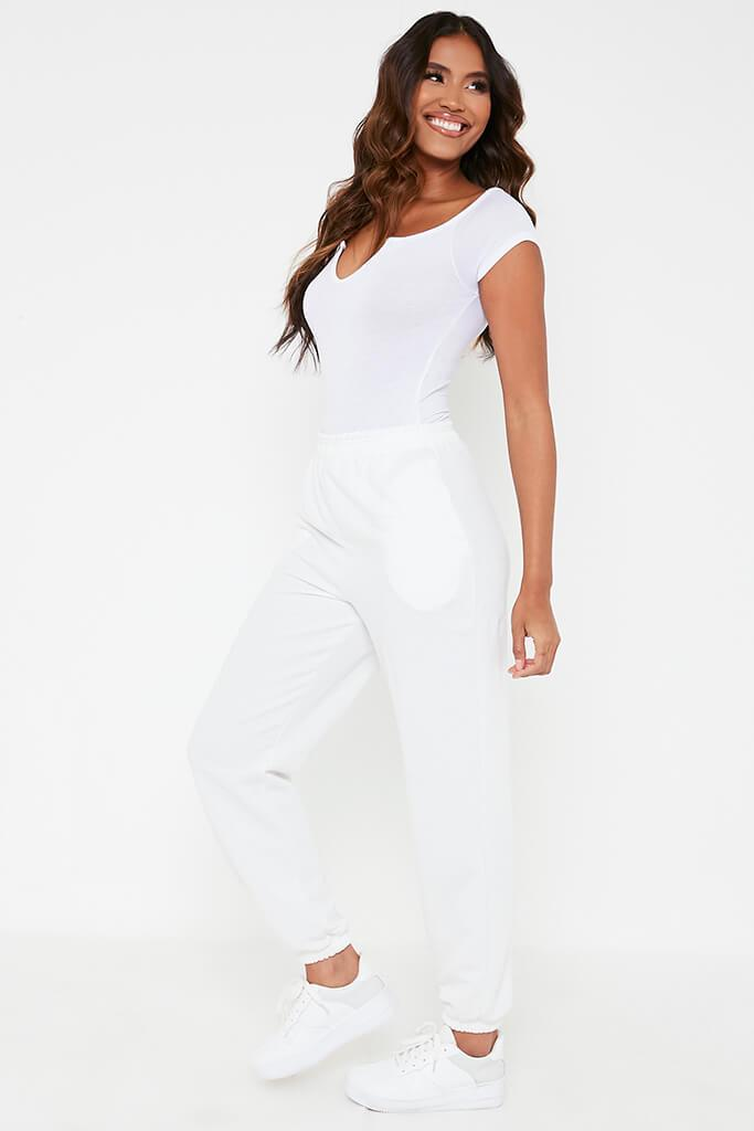 White Viscose Notch Front Bardot Bodysuit view 5