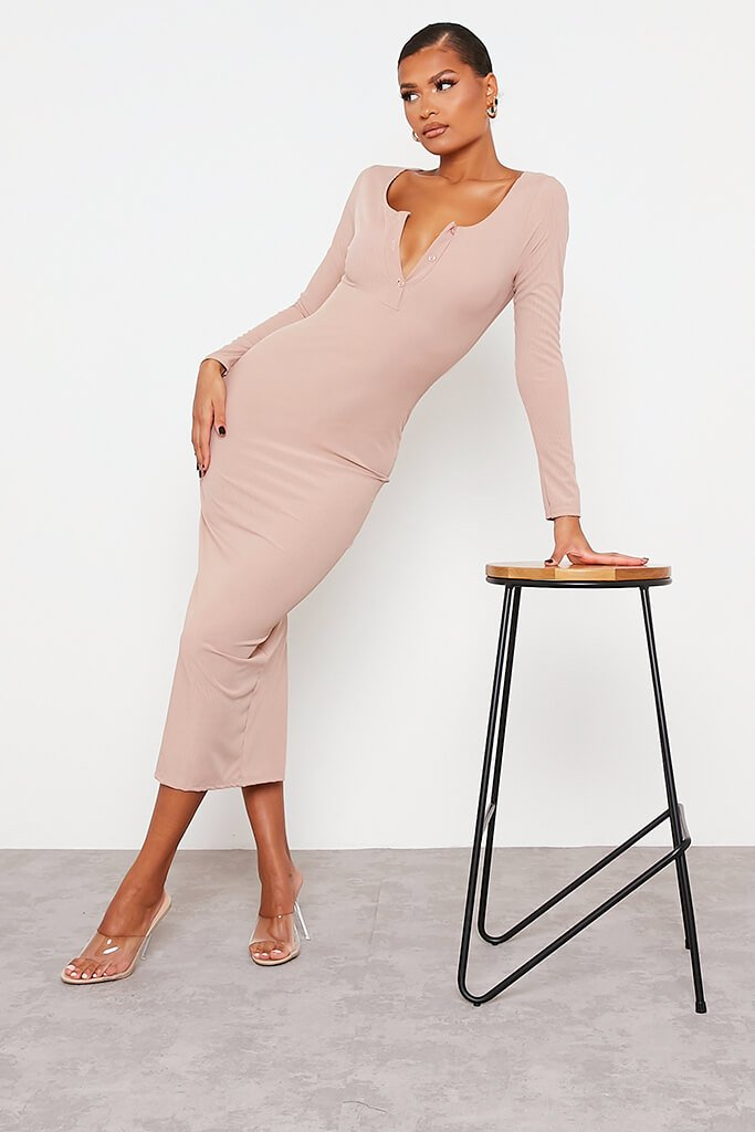 Stone Notch Front Long Sleeve Bodycon Maxi Dress