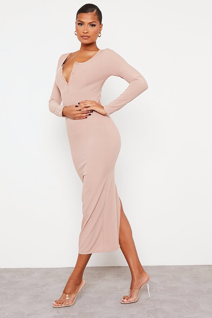 Stone Notch Front Long Sleeve Bodycon Maxi Dress view 3