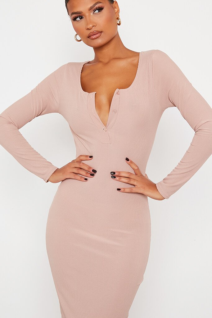 Stone Notch Front Long Sleeve Bodycon Maxi Dress view 5
