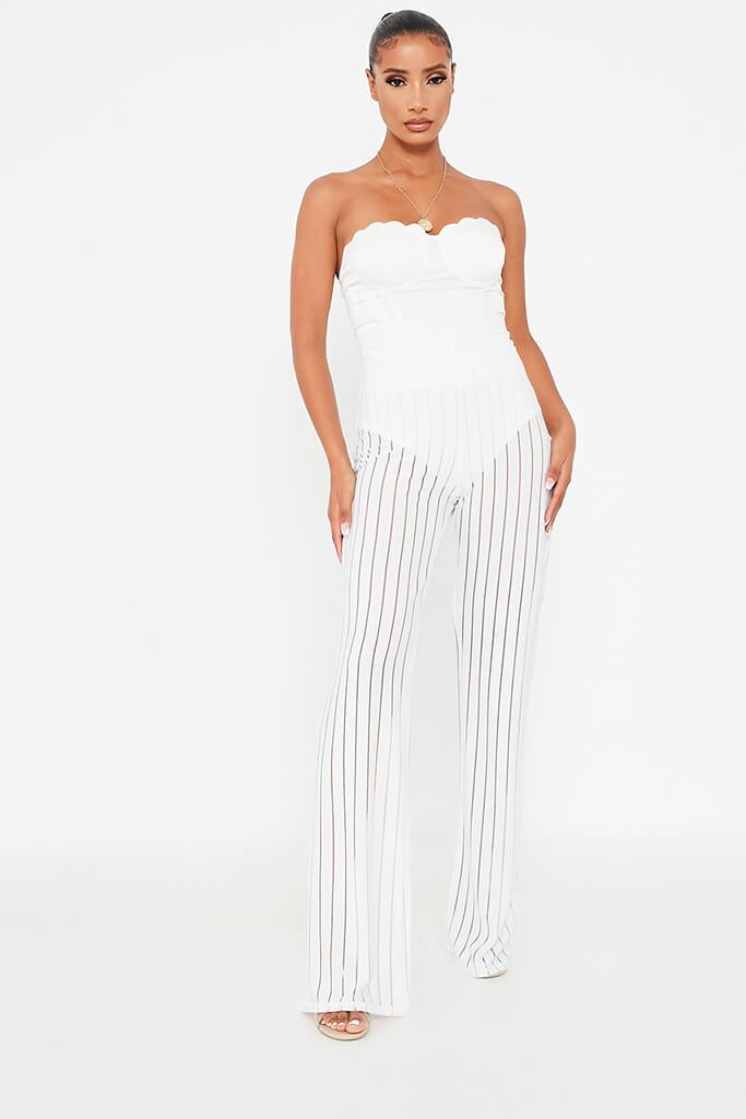 White Striped High Waisted Wide Leg Trouser