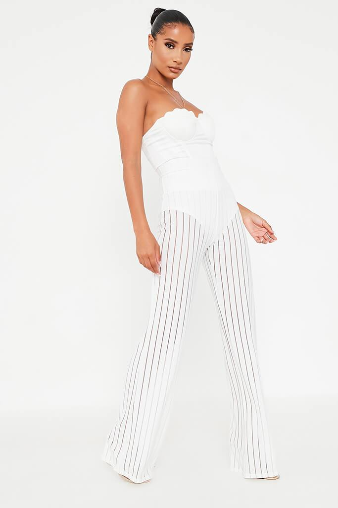 White Striped High Waisted Wide Leg Trouser view 3