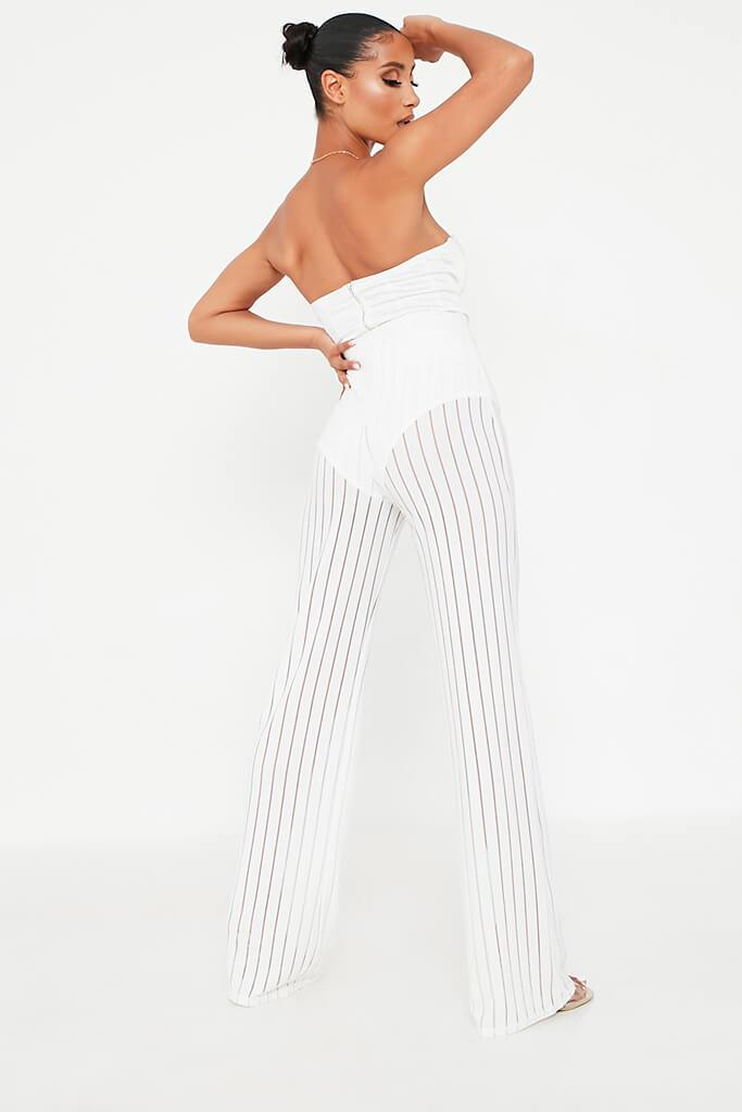 White Striped High Waisted Wide Leg Trouser view 5