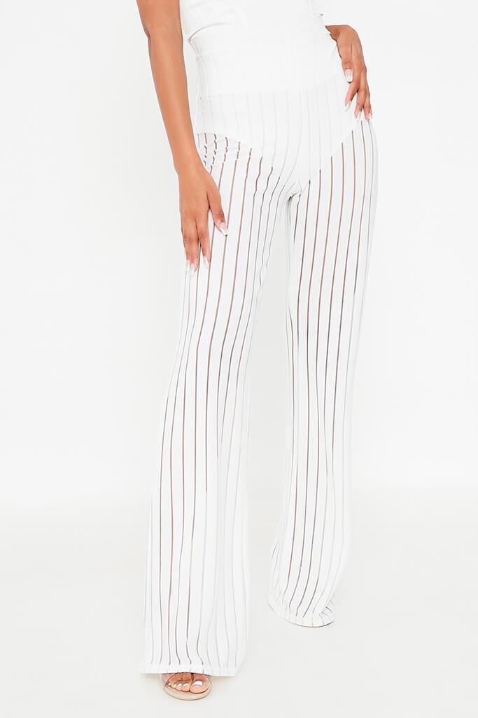 White Striped High Waisted Wide Leg Trouser view 2
