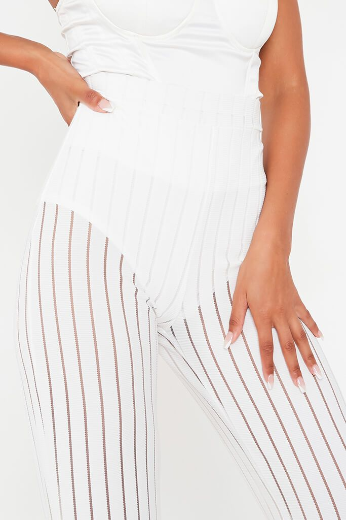 White Striped High Waisted Wide Leg Trouser view 4