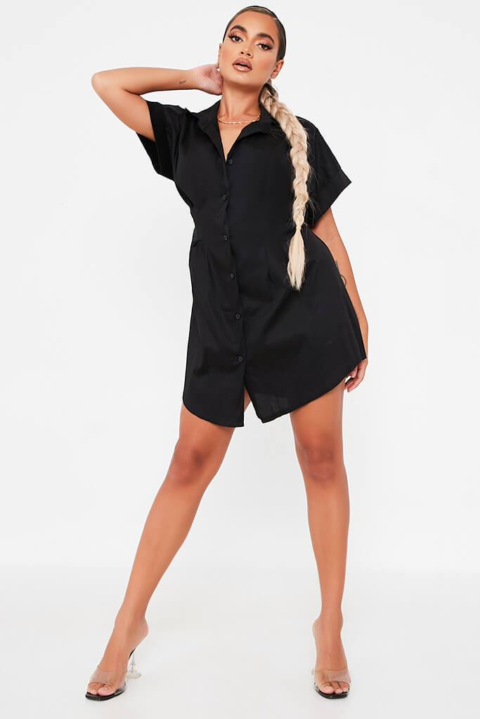 Black Cotton Cinched Waist Shirt Dress view 2