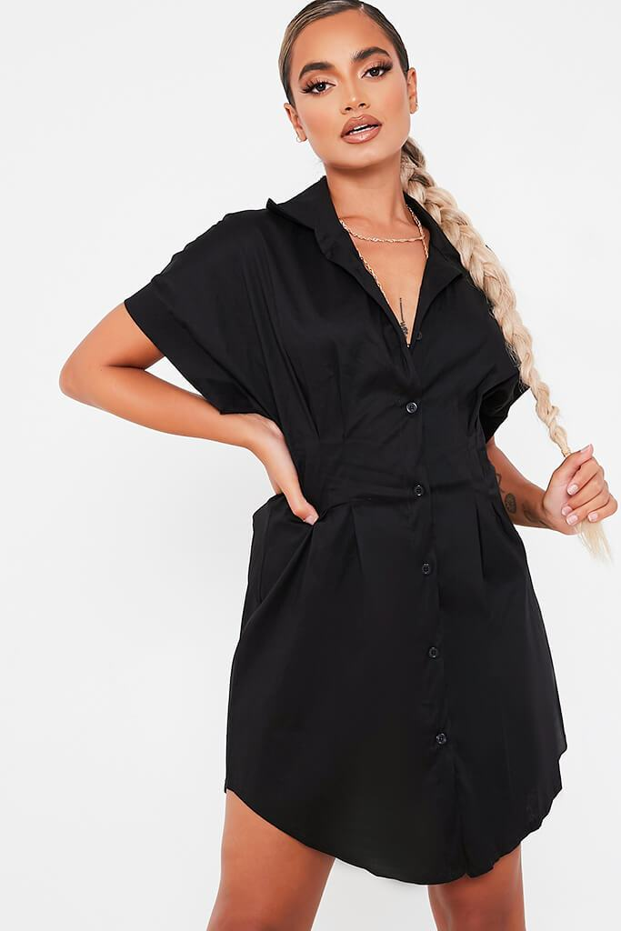 Black Cotton Cinched Waist Shirt Dress